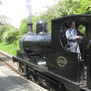 Train drivers with train on the Bolton to Embsay Railway