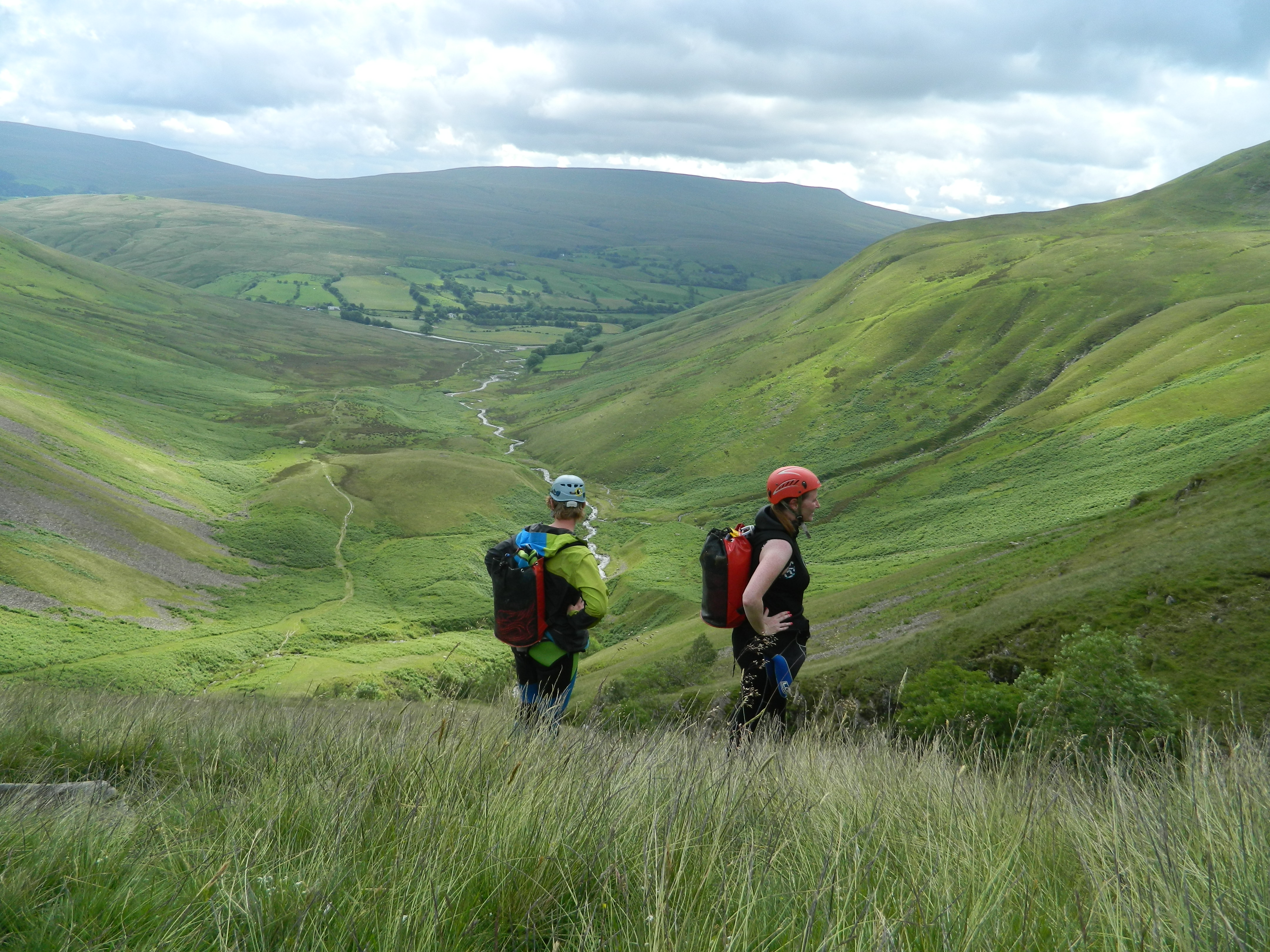canyoning - people walking to top of Cautley Spout with How Stean Gorge Outdoor Team, Yorkshire Dales