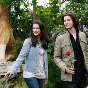 Aslan at the NEC with the actors Anna Popplewell and Ben Barns